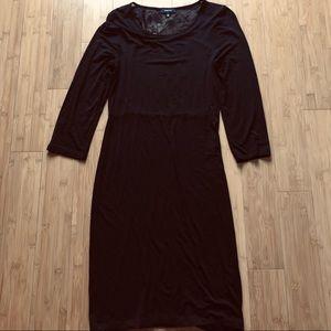 Babaton Long Sleeve Midi Dress with Lace Back